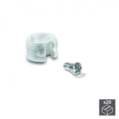 Emuca Enganche de unión para estantes, D. 20 mm, 13 mm, + Pernos D. 4,2 mm, Plástico y acero, Blanco, 20 ud.