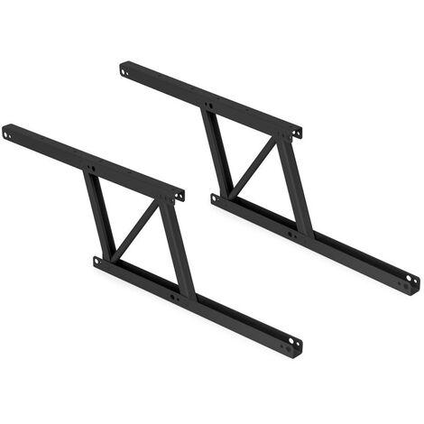 Emuca Ensemble de 2 mécanismes de levage pour tables basses, Peinture noire, Acier - Peint en noir