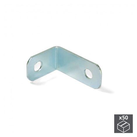 Emuca Escuadra de unión para muebles, 34 x 23,5 mm, 2 agujeros, Acero, Cincado, 50 ud.