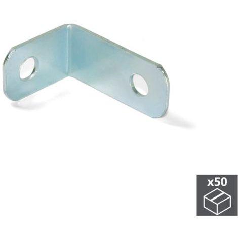 Emuca escuadra de unión para muebles, 34 x 23,5 mm, 2 agujeros, acero, cincado, 50 ud. - talla