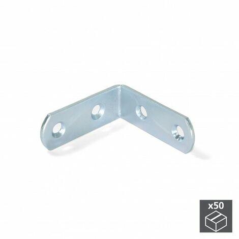 Emuca Escuadra de unión para muebles, 42 x 42 mm, 4 agujeros, Acero, Cincado, 50 ud.