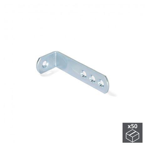 Emuca Escuadra de unión para muebles, 70 x 22,5 mm, 4 agujeros, Acero, Cincado, 50 ud.