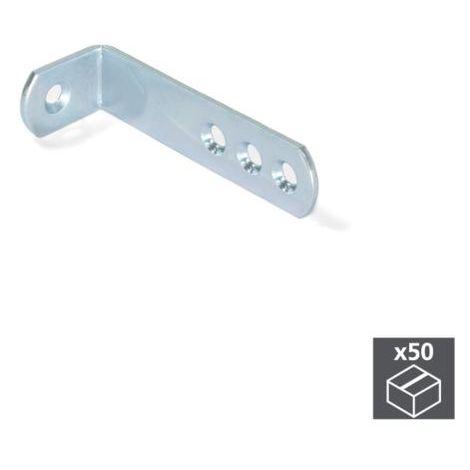 Emuca escuadra de unión para muebles, 70 x 22,5 mm, 4 agujeros, acero, cincado, 50 ud. - talla