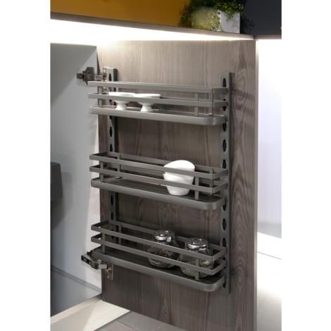 Emuca Especiero de 3 bandejas para mueble de cocina o pared, acero, gris antracita.