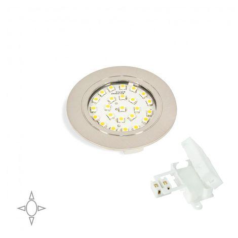 Emuca Foco LED, D. 65 mm, para empotrar, Luz blanca natural, Plástico, Niquel satinado