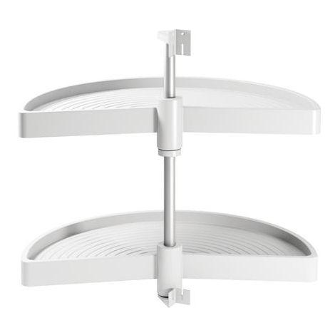 Emuca juego bandejas giratorias mueble de cocina, 180º , módulo 800 mm, plástico, blanco - talla