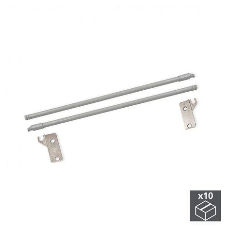 Emuca Juego Barandillas para cajón Ultrabox, D. 10 mm, Prof. 450 mm, Acero, Gris metalizado, 10 ud.