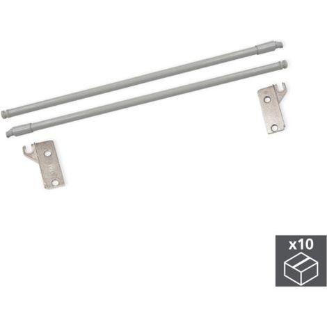 Emuca juego barandillas para cajón ultrabox, d. 10 mm, prof. 500 mm, acero, gris metalizado, 10 ud. - talla