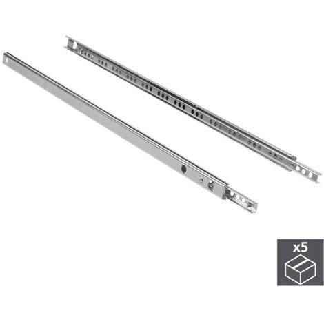 Emuca juego de guías para cajones, de bolas, 17x 278 mm, extracción parcial, cincado, 5 ud. - talla