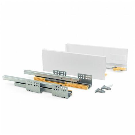 Emuca Kit cajón de cocina Concept, 50 Kg, altura 138 mm, prof. 500 mm, cierre suave, Acero, Blanco