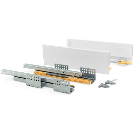 Emuca Kit cajón de cocina Concept, altura 105 mm, prof. 450 mm, cierre suave, Acero, Blanco
