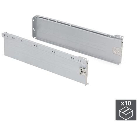 Emuca Kit cajón de cocina Ultrabox, altura 150 mm, prof. 450 mm, Acero, Gris metalizado, 10 ud.