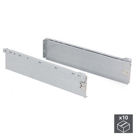 Emuca Kit cajón de cocina Ultrabox, altura 150 mm, prof. 500 mm, Acero, Gris metalizado, 10 ud.