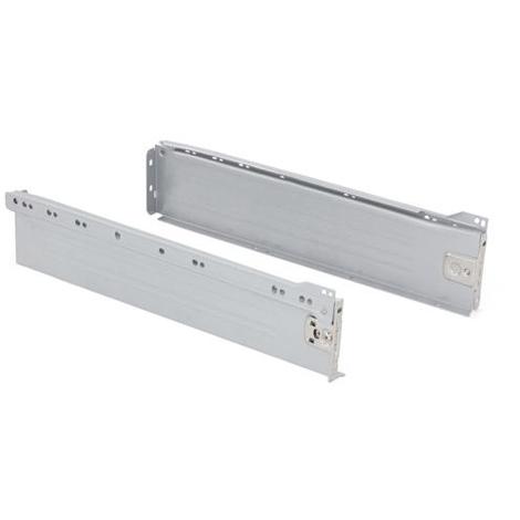Emuca Kit cajón de cocina Ultrabox, altura 86 mm, prof. 270 mm, Acero, Gris metalizado