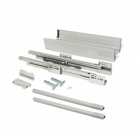 Emuca kit cajón de cocina vantage-q, altura 141 mm, prof. 350 mm, con barandillas, cierre suave, acero, gris metalizado - talla