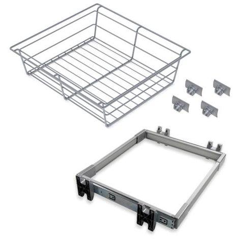 Emuca kit cajón metálico y bastidor de guías, regulable, módulo de 600 mm, acero y aluminio, gris metalizado. - talla