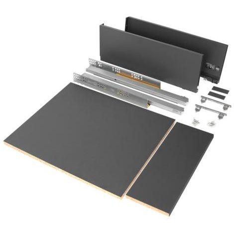 Emuca kit de cajón para cocina o baño con tableros incluidos, cierre suave, profundidad 500 mm, altura 178 mm, módulo 450 mm, acero, gris antracita. - talla