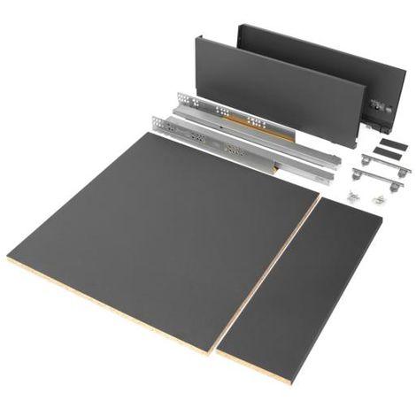 Emuca kit de cajón para cocina o baño con tableros incluidos, cierre suave, profundidad 500 mm, altura 178 mm, módulo 600 mm, acero, gris antracita. - talla