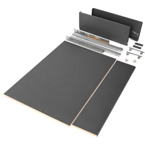 Emuca kit de cajón para cocina o baño con tableros incluidos, cierre suave, profundidad 500 mm, altura 178 mm, módulo 900 mm, acero, gris antracita. - talla