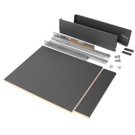 Emuca kit de cajón para cocina o baño con tableros incluidos, cierre suave, profundidad 500 mm, altura 93 mm, módulo 450 mm, acero, gris antracita. - talla