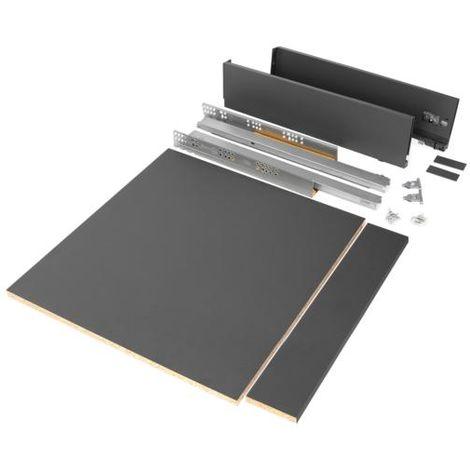 Emuca kit de cajón para cocina o baño con tableros incluidos, cierre suave, profundidad 500 mm, altura 93 mm, módulo 600 mm, acero, gris antracita. - talla