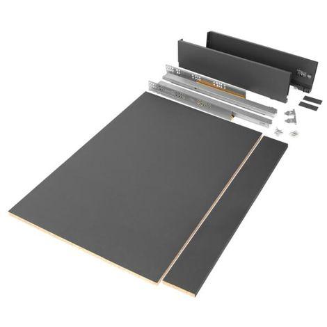Emuca kit de cajón para cocina o baño con tableros incluidos, cierre suave, profundidad 500 mm, altura 93 mm, módulo 900 mm, acero, gris antracita. - talla