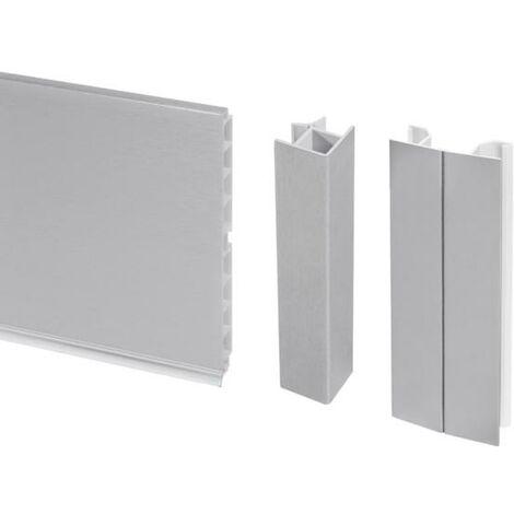 Emuca Kit de plinthes de cuisine, avec accessoires union, hauteur 100 mm, 4,7 m, plastique, anodisé satiné. - talla