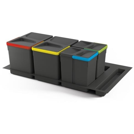 Emuca Kit de poubelles, 15 L + 15 L + 7 L + 7 L, module 900 mm, Plastique, Gris anthracite, 3 ut. + Base