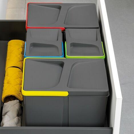 Emuca Kit de poubelles avec base Recycle pour tiroir de cuisine