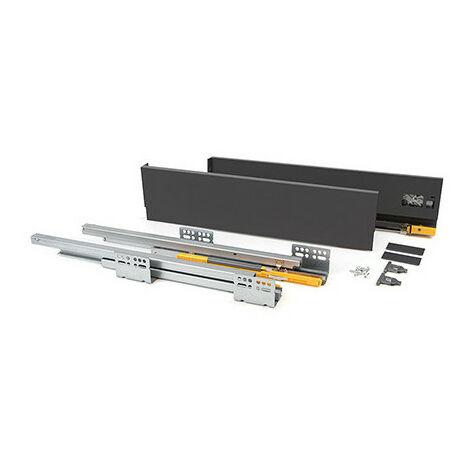 Emuca Kit de tiroir pour cuisine Concept, 50 Kg, hauteur 138 mm, prof. 500 mm, fermeture amortie, Acier, Gris anthracite - Gris anthracite