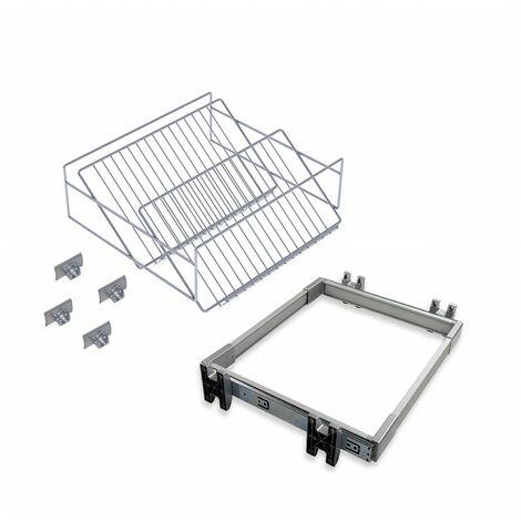 Emuca Kit de zapatero metálico y bastidor de guías, regulable, módulo de 800 mm, Acero y aluminio, Gris metalizado