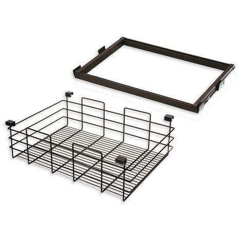 Emuca Kit panier métallique et cadre coulissant, réglable, module de 600 mm, Acier et aluminium, Couleur moka