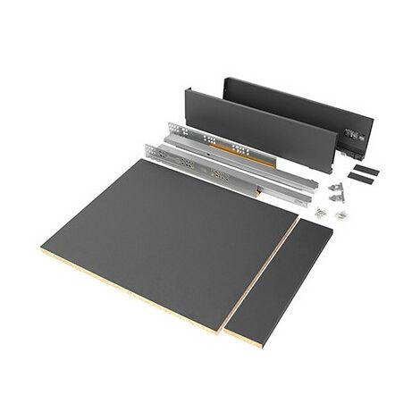 Emuca Kit tiroir Vertex cuisine et bain, panneaux incluses, fermeture amortie, 500x93mm, module 600mm, Acier, Anthracite - talla
