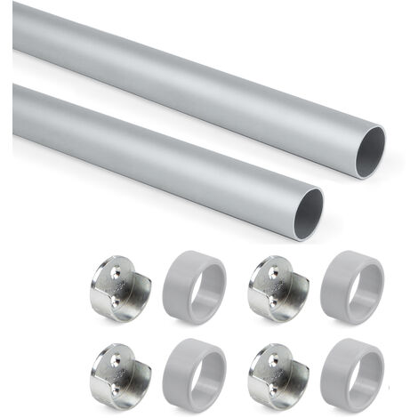 Emuca Kit tube de penderie circulaire D. 28 mm, 750 mm, Aluminium, Peint en moka - Peint en moka