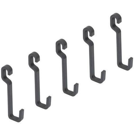 Emuca lote de 5 ganchos para colgar, acero, gris antracita. - talla