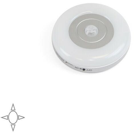 Emuca Luminaire LED, rechargeable par USB, détecteur de mouvement, Lumière Blanc naturel, Plastique, Gris métallisé