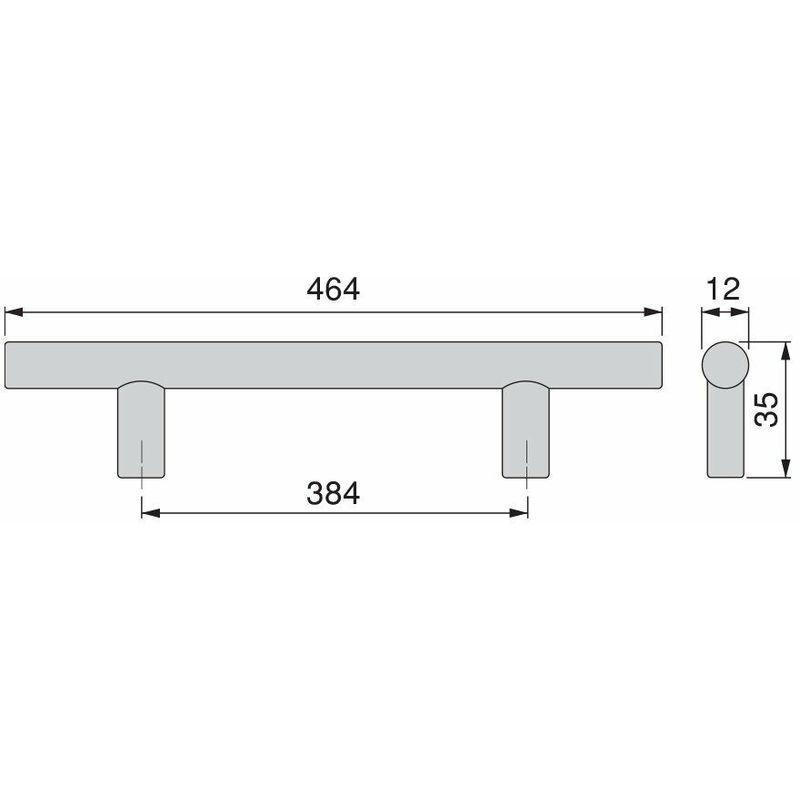 Emuca 9164251 Maniglia per mobile diametro /Ø12mm CC 448mm Set di 10 Nichel satinato Acciaio