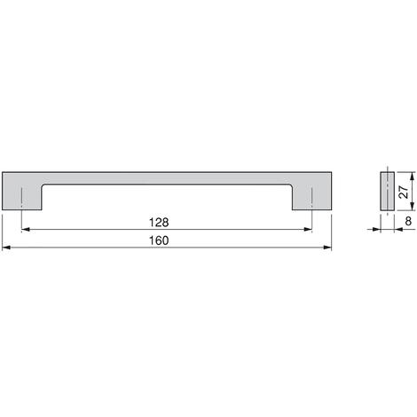 Emuca Maniglie per mobile, interasse 128 mm, Zama, Cromo, 20 u.
