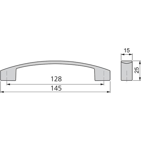 Emuca Maniglie per mobile, interasse 128 mm, Zama, Cromo, 25 u.