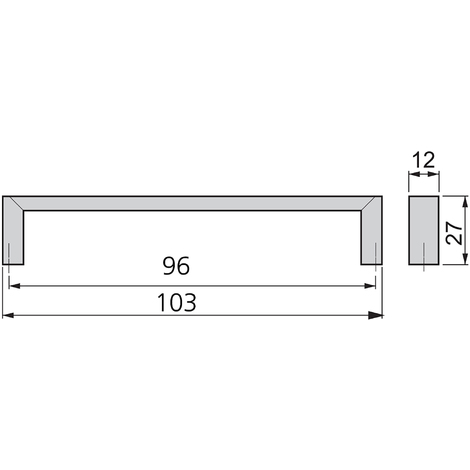 Emuca Maniglie per mobile, interasse 96 mm, Zama, Nichel satinato, 25 u.
