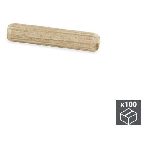 Emuca mechones, d. 6 mm, 30 mm, madera, 100 ud. - talla