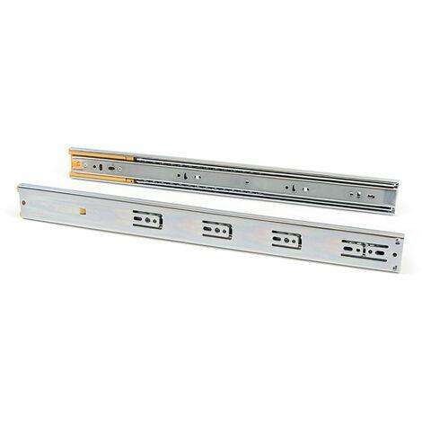 Emuca Pair de coulisses pour tiroirs, à billes, 45 x 550 mm, sortie totale, fermeture amortie, Zingé - Zingué