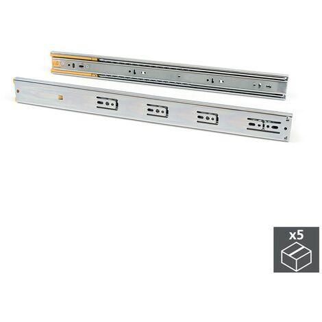 Emuca Pair de coulisses pour tiroirs, à billes, 45 x 600 mm, sortie totale, fermeture amortie, Zingé, 5 pcs.