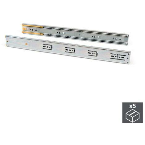 Emuca Paire de coulisses pour tiroirs, à billes, 45 x 300 mm, sortie totale, fermeture amortie, Zingué - Zingué
