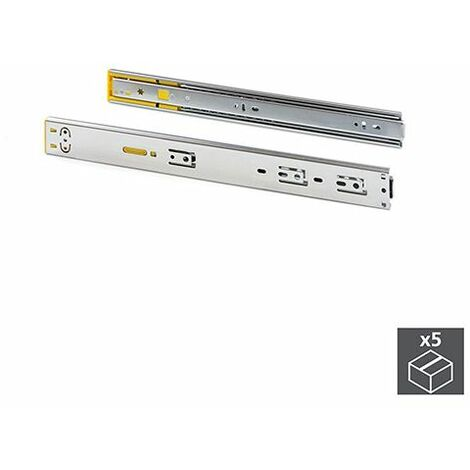 Emuca Paire de coulisses pour tiroirs, à billes, 45x450mm, sortie totale, système push, fermeture amortie, Zingué, 5 ut. - Zingué