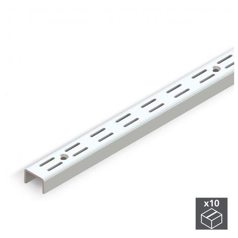 Emuca Perfil de armario, ranura doble, paso 32 mm, 951 mm, Acero, Blanco, 10 ud.