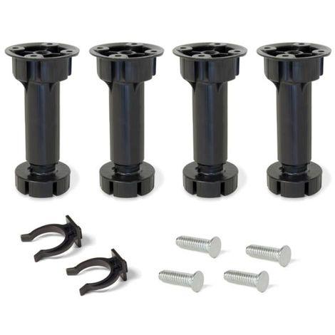 Emuca pie nivelador con base premontada para mueble, regulable 98 -115 mm, plástico, negro, 4 ud. - talla