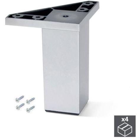 Emuca pie para mueble, 100 mm, plástico, gris metalizado, 4 ud. - talla