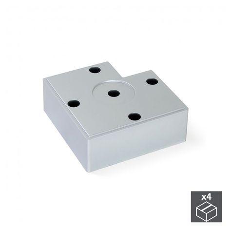 Emuca pie para mueble, altura 15 mm, plástico, gris metalizado, 20 ud. - talla