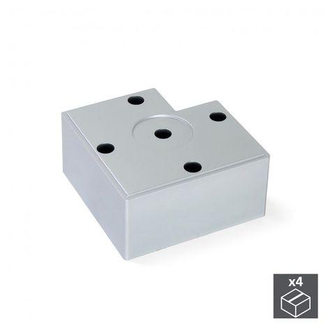 Emuca Pie para mueble, altura 45 mm, Plástico, Gris metalizado, 4 ud.